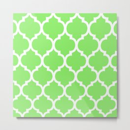 MOROCCAN LIME GREEN AND WHITE PATTERN Metal Print