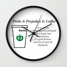 Pride and Prejudice and Coffee Wall Clock