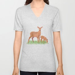 Deer and Fawn Unisex V-Neck