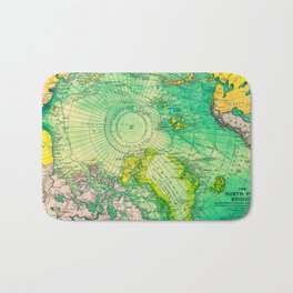 Colorful Map of the North Pole - Vintage Bath Mat