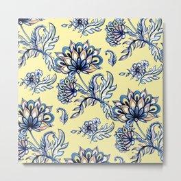 Watercolor Flower Pattern Art Prints Metal Print