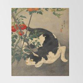 Shotei Takahashi Black & White Cat Tomato Garden Japanese Woodblock Print Throw Blanket
