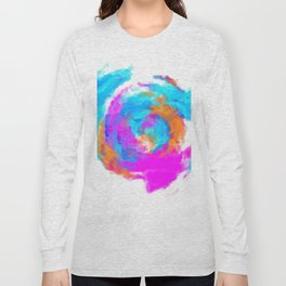 psychedelic splash painting abstract texture in blue pink orange Long Sleeve T-shirt