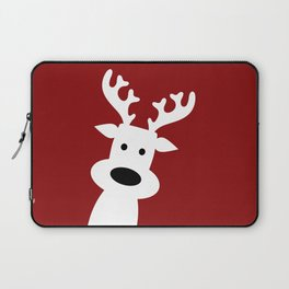 Reindeer on red background Laptop Sleeve