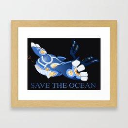 Kyogre - Save the Ocean! Framed Art Print