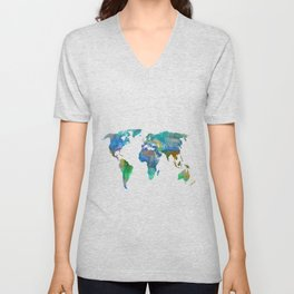 Blue World Transparent Map Unisex V-Neck