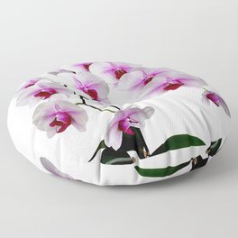 White and red Doritaenopsis orchid flowers Floor Pillow