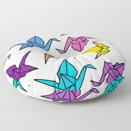 Origami Cranes Colorful Palette Floor Pillow
