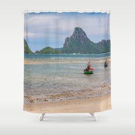 Three Boats Thailand Shower Curtain