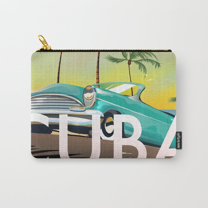 Cuba vintage travel poster print Carry-All Pouch