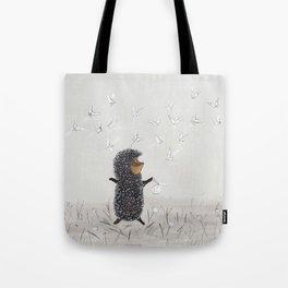Hedgehog in the Fog fly like butterflies Tote Bag