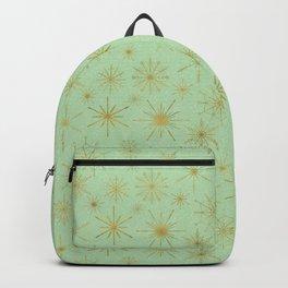 Snowflake Mandalas Mint Green Gold Backpack