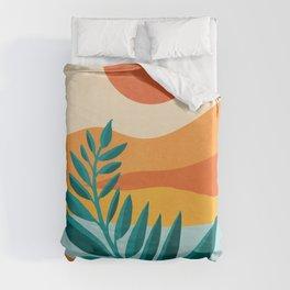 Mountain Sunset / Abstract Landscape Illustration Duvet Cover