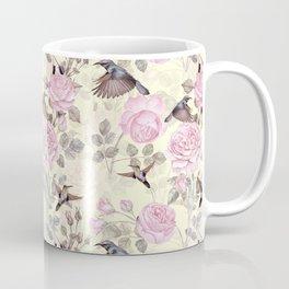 Vintage & Shabby Chic - Lush pastel roses and hummingbird pattern Coffee Mug