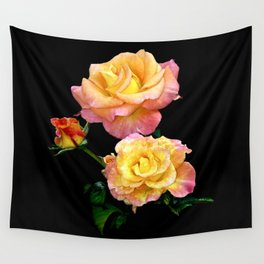 Daybreak roses on black Wall Tapestry