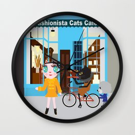 FASHIOINISTA CATS CAFE Wall Clock