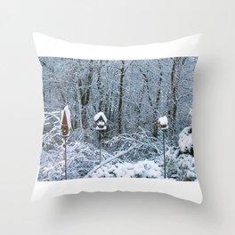 Birdhouses in Winter Throw Pillow