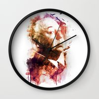 hitchcock Wall Clocks featuring ALFRED HITCHCOCK by Elizabeth Cakovan