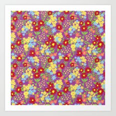 Purple Floral Pattern Art Print