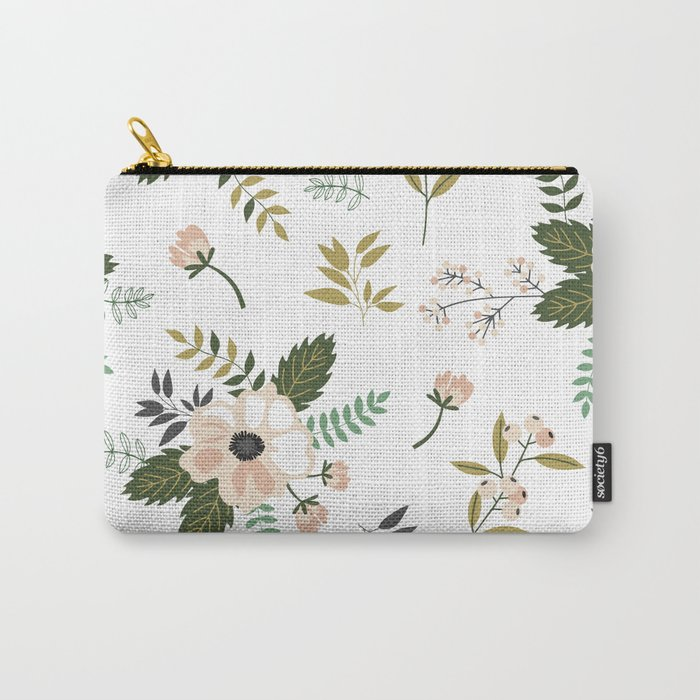 Winter floral - snowy blush petals Carry-All Pouch