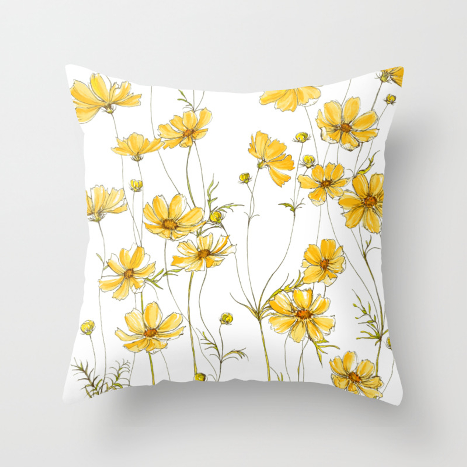 Yellow Cosmos Flowers Throw Pillow By Jrosedesign Society6