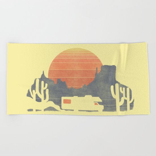 Trail of the dusty road Beach Towel