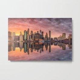 New York City Morning Skyline NYC Metal Print