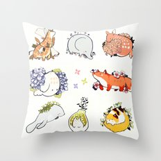 mochi and foliage Throw Pillow