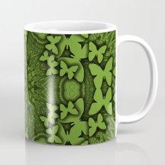 Butterfly kaleidoscope in green Mug
