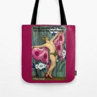 karen hallion Tote Bags featuring Karen: Vintage Darlings by Vintage Darlings
