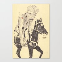 cowboy Canvas Prints featuring cowboy by withapencilinhand