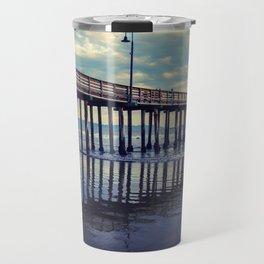 Just Wandering along the beach at Cayucos Pier Travel Mug