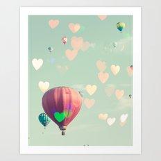Hot air balloon nursery and heart bokeh on pale blue Art Print