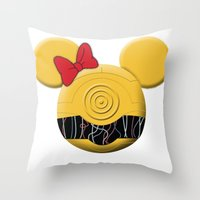 c3po Throw Pillows featuring C3PO Mouse  by Miranda Copeland