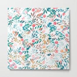Vintage floral & Foliage Distressed Paint design Metal Print