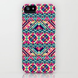 Pink, Teal, and Yellow Aztec Geometric iPhone Case