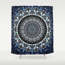 Dark Blue Grey Mandala Design Shower Curtain