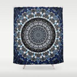 Dark Blue Grey Mandala Design Shower Curtain