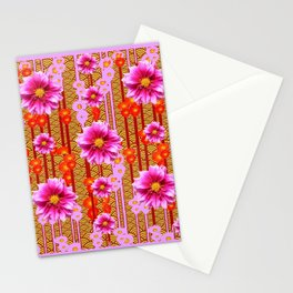 Lilac Purple Dahlia Flowers Orange Abstract Pattern Stationery Cards