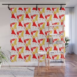 Dancing woman in a red dress and with blond yellow hair Wall Mural