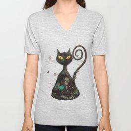 Black cat with orange eyes Unisex V-Neck