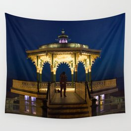 Brighton Bandstand at Night Wall Tapestry