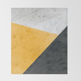 Modern Yellow & Black Geometric Throw Blanket
