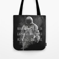 interstellar Tote Bags featuring interstellar by Molnár Roland