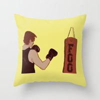 foo fighters Throw Pillows featuring Foo Fighter by Kramcox