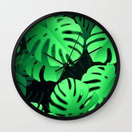 Lush, Large Jungle Palm Leaves Modern Art Pattern Wall Clock