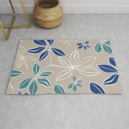 Modern, Minimal, Line Art, Beige, Teal and Blue, Floral Prints Rug