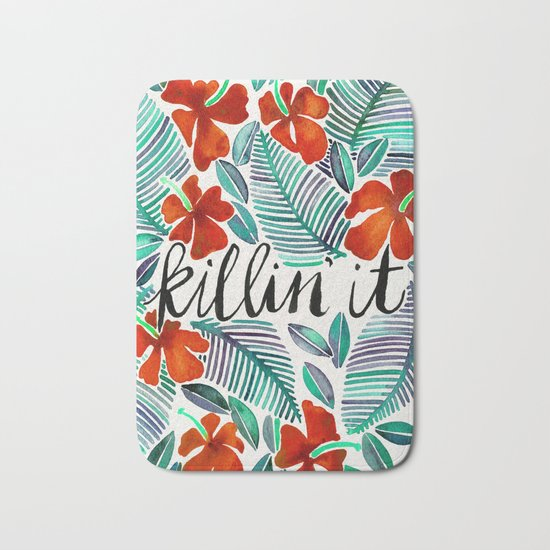 Killin' It – Tropical Red & Green Bath Mat