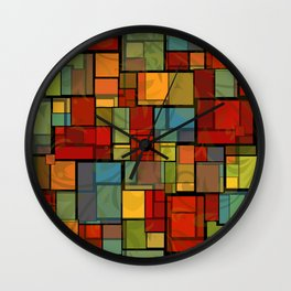 Stained Glass Geometric Pattern Wall Clock
