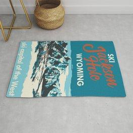 Ski Jackson Hole Wyoming Vintage Ski Poster Rug